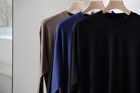 un/unbient washable wool crewneck cut&sew (3 colors)