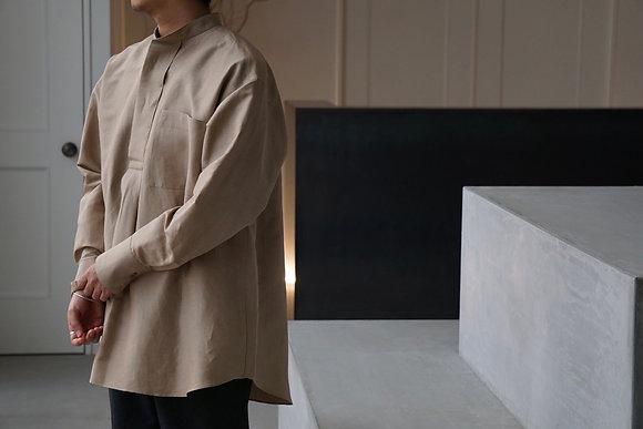 POSTELEGANT linen silk pull over shirt (dry beige)