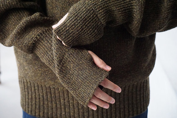 MAATEE&SONS  mock neck sweater (mix khaki)