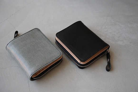 cornelian taurus  tower half wallet (black,white wax press)