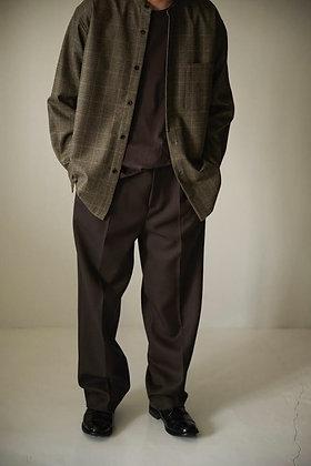 WIRROW  Check wool stand collar shirt (beige)