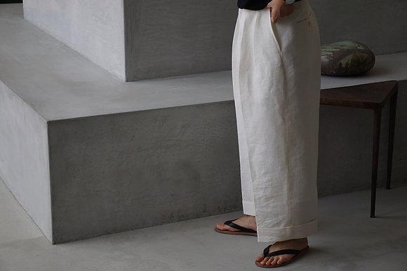 POSTELEGANT  washi paper linen trousers (white)