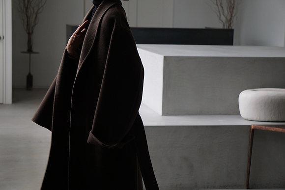 POSTELEGANT  wool hemp rever gown coat (dark mos brown)