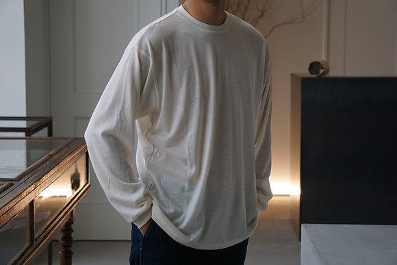 un/unbient  washable wool crew neck cut&sew (off white,burgundy)