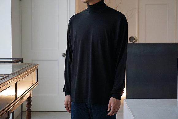 un/unbient  washable wool high neck cut&sew (black,dark brown)
