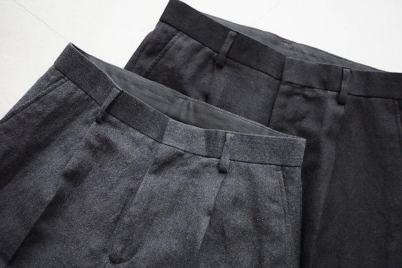 WIRROW  wool linen tapered slacks (black,grey)