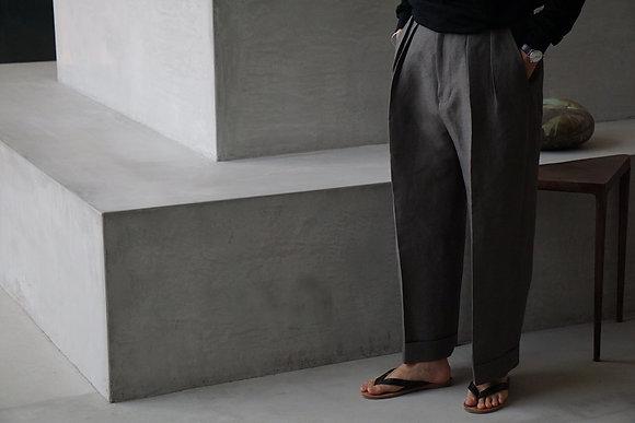 POSTELEGANT  washi paper linen trousers (sage green)