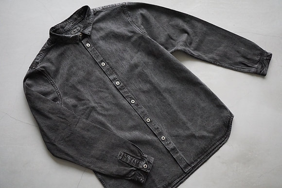 MITTAN  裏絹紬表高密度シャツ (炭)