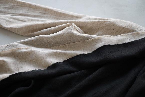 MITTAN  ナーシシルクロング羽織 (黒・生成)