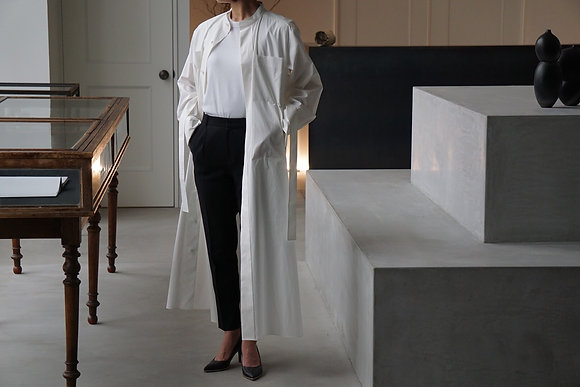 POSTELEGANT  high count cotton long shirt dress (white)