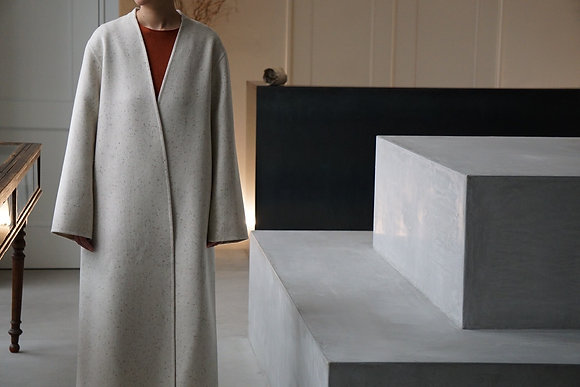 POSTELEGANT  cashmere wool rever coat (off white × brown)
