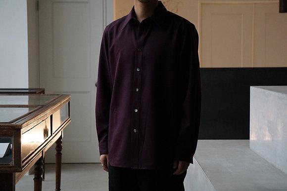 山内 ノーミュールシングウールシャツ  (bordeaux)