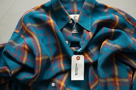 I am dork  loose shirts (blue check)