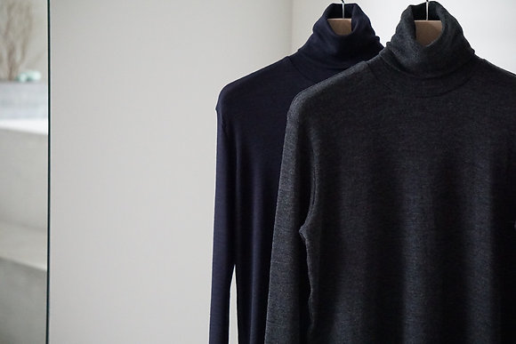 POSTELEGANT  fine wool circular rib high neck (navy,charcoal grey)