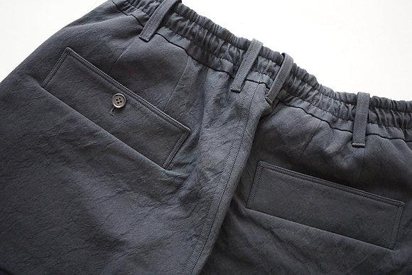 山内 高密度二重織りコットン・ワイドパンツ (black)