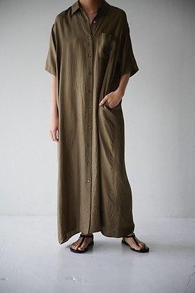 WIRROW  silk half sleeve dress (beige,black)