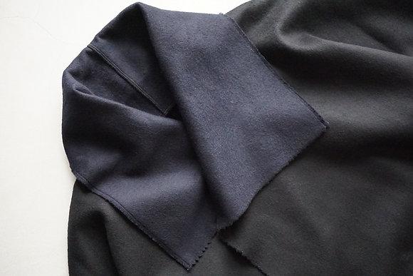 MITTAN  ウールリバーコート (黒×紺)