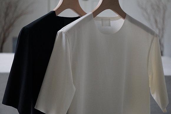 山内 フリーカット強撚ポンチ・Tシャツ (black,white)