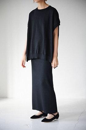 WIRROW  dry cotton rib tight skirt (black)