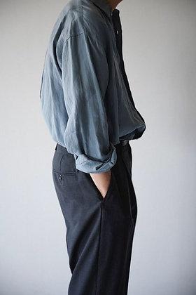 WIRROW  linen regular collar shirt (smoke blue)