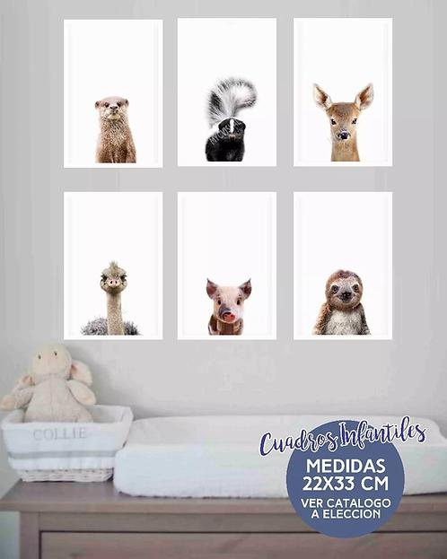 Cuadro Infantil Animales Nordicos Bebes 22x33 Cm