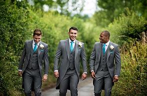 Grey-slimfit-Tailcoat-turquoise-neckwear
