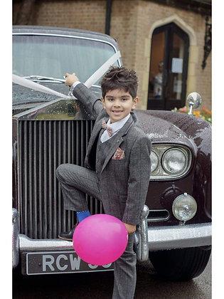 Boys Tweed Albert 3 piece  grey suit