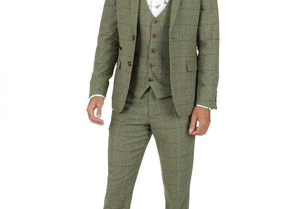 Marc Darcy Ellis Moss Green Tweed Suit