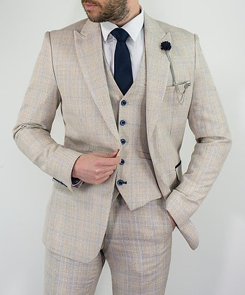 Cardi check slim fit cream suit