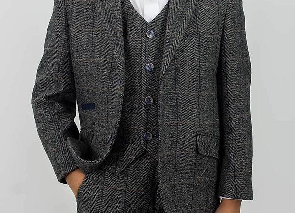 Boys Tweed Albert 3 piece  grey suit