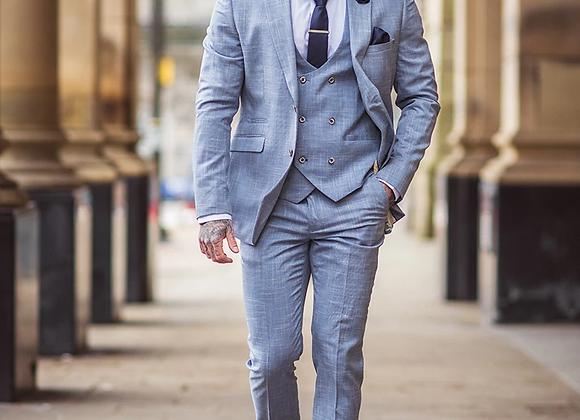 Colt light blue check three piece suit