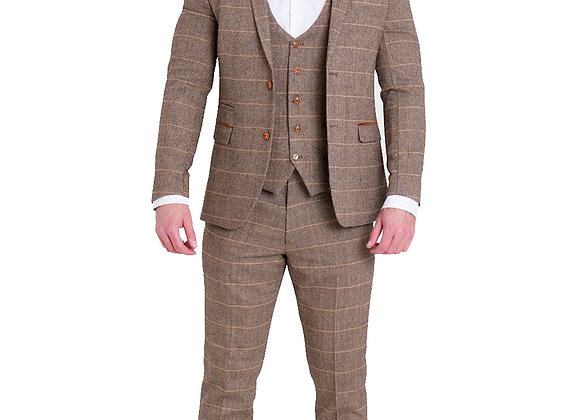Marc Darcy Ted tan check tweed suit