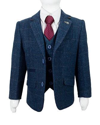 Boys tweed carnegi 3 piece suit