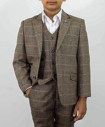 Boys Tweed brown  albert 3 piece suit