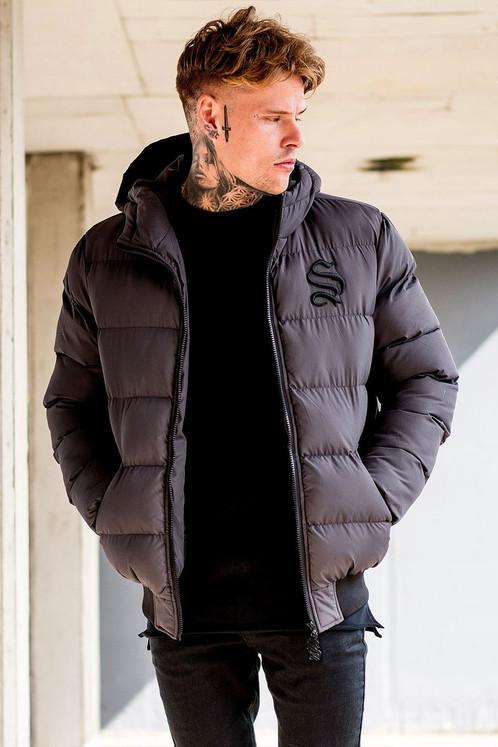 Men's Sinners Attire Puffa Bomber Jacket Grey
