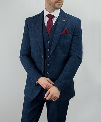 Carnegi navy tweed suit