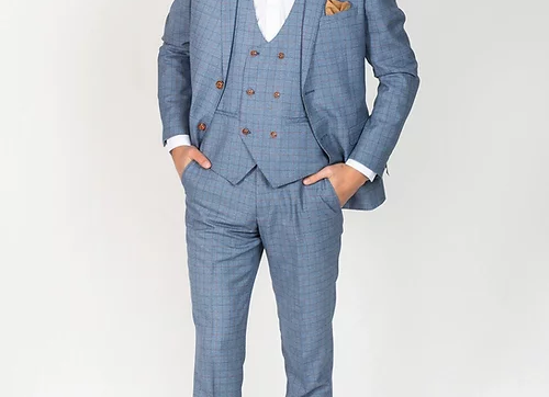 Light blue George Check suit Marc Darcy