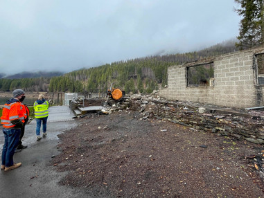 Concrete foundations damaged by the fire may be unsafe for rebuilding