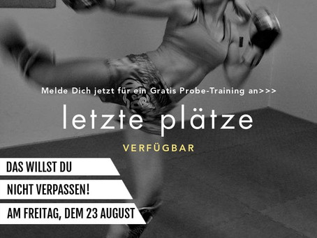 Gratis Probe-Training am Freitag, dem 23 August