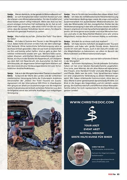Chris The Doc · International Emergency Tour Doctor · Tour-Arzt · Erste-Hilfe-Trainings speziell für Motorradfahrer · Dr. med. Christopher Andratschke · München · Motorradlust Pur · Mongolei GS Trophy