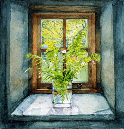 Ferns in Window ~ Clun