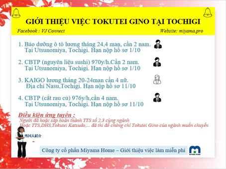 GIỚI THIỆU VIỆC TOKUTEI GINO MIỄN PHÍ TẠI TOCHIGI  栃木県の特定技能仕事紹介「ベトナム人向け」
