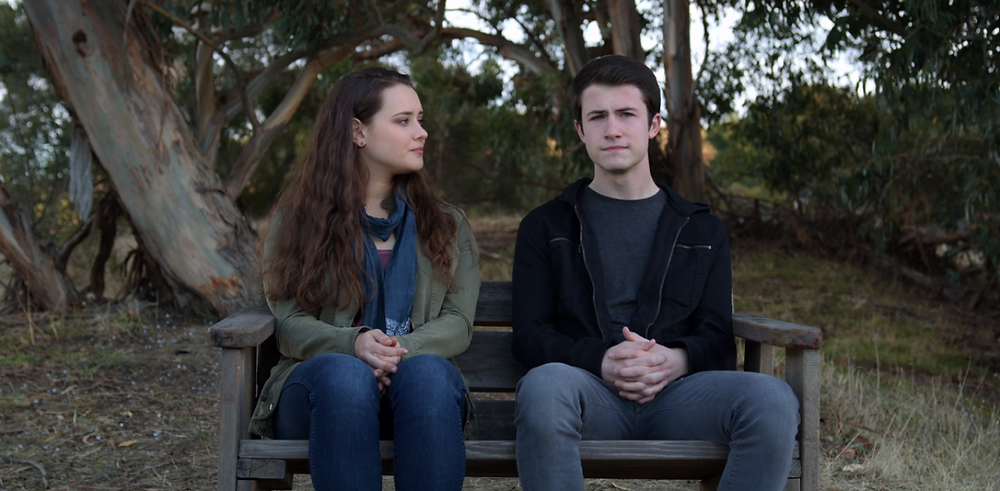 A screenshot from Season 2 of '13 Reasons Why' Season 2, Episode 13 featuring Katherine Langford as Hannah Baker and Dylan Minnette as Clay Jensen.