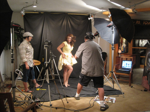 Model and stylist with Myron, photo shoot
