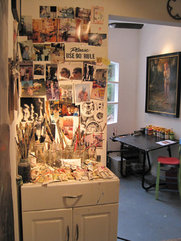 One of the studio reference walls