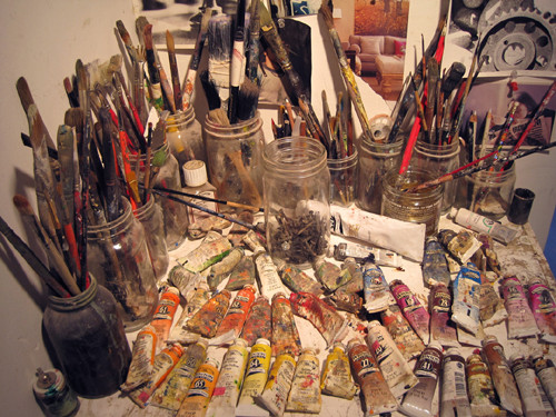 Brushes and oil paints