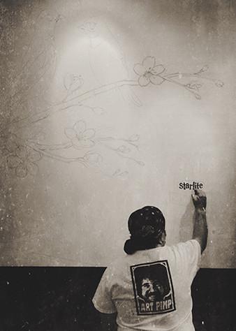 Myron painting The Bluebird