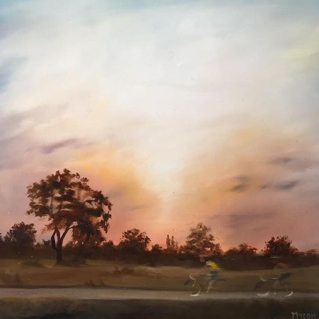 Two Cyclists and Oak Tree