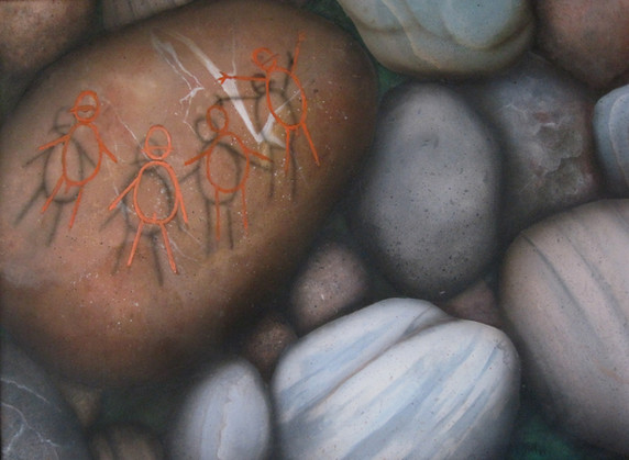 Naked Stick Figures on a Rock