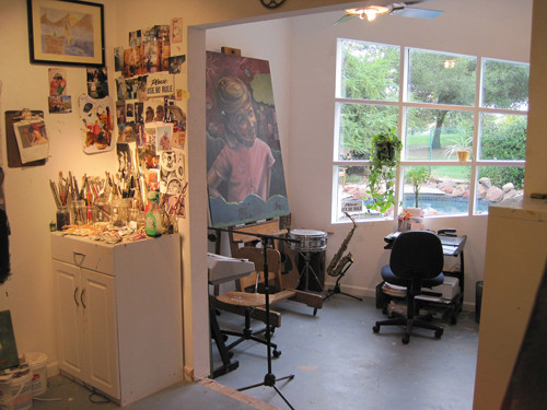 Looking into lower level of the studio